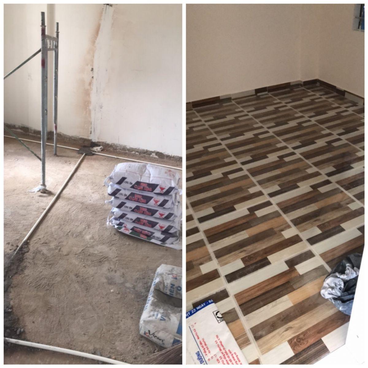Hình ảnh thực tế trước và sau khi lát gạch nền nhà