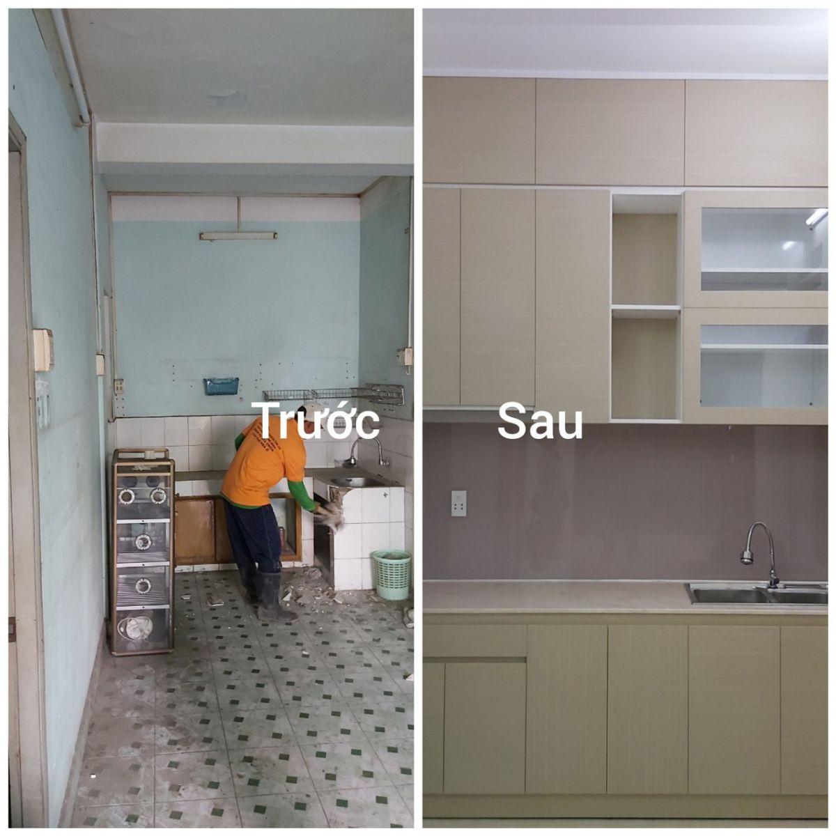 Phòng bếp được tu sửa lại mới hoàn toàn so với hiện trạng cũ