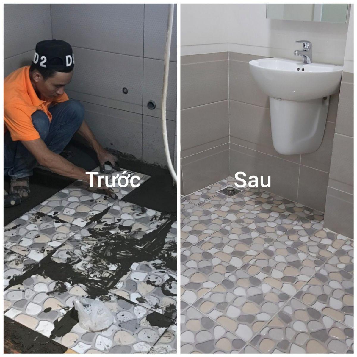Thi công ốp lát gạch nền nhà vệ sinh